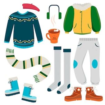 Ilustrowany zestaw ubrań zimowych