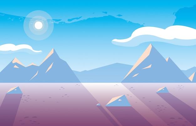 Ilustruje ikona sceny natury snowscape