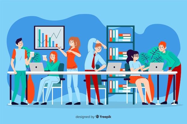 Ilustruje ludzi pracujących razem