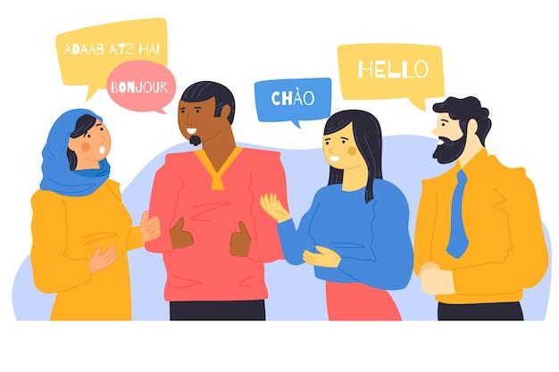 Ilustruje młodych ludzi rozmawiających w różnych językach