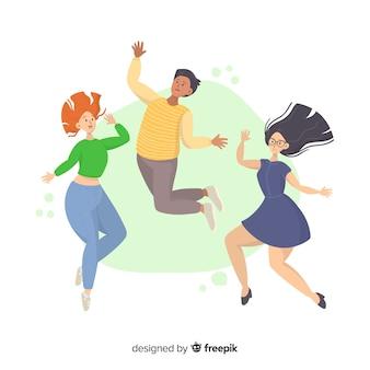 Ilustruje młodych ludzi skaczących razem