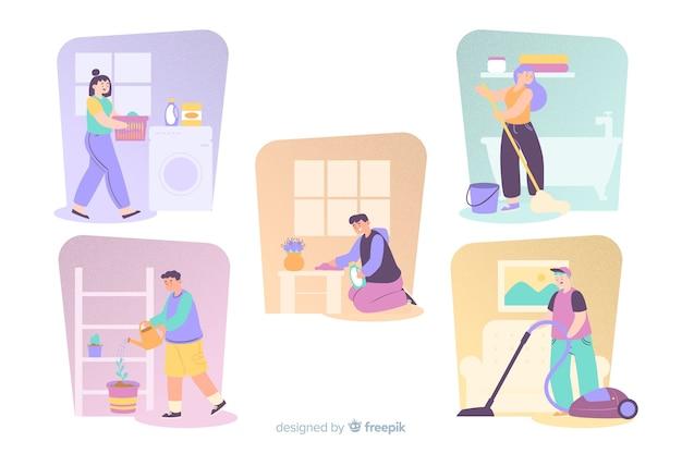 Ilustruje młodych ludzi wykonujących prace domowe