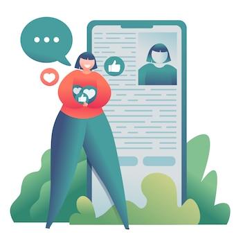 Ilustruje nastoletnią dziewczynę blogera w pobliżu smartfona, która szuka przyjaciół i zbiera lubi.