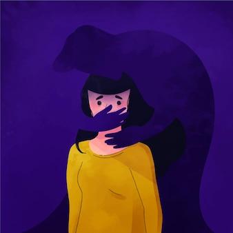 Ilustruje pojęcie przemocy ze względu na płeć