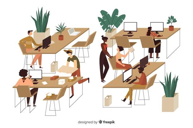 Ilustruje pracowników biurowych siedzących przy biurkach
