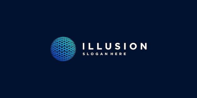 Iluzja logo w kreatywnym stylu premium wektor