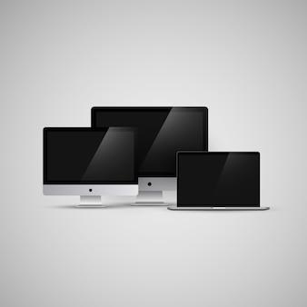 Imac i macbook komputerów wektorowych ilustracji makieta