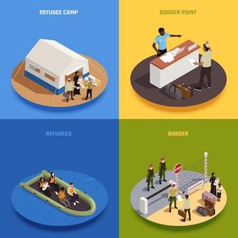 Imigranci koncepcja projektowa 2x2 zestaw nielegalnych imigrantów żeglujących w obozie tymczasowego pobytu na łodzi