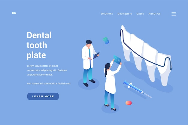 Implantacja płytki dentystycznej w stomatologii lekarze patrzą na zdjęcia rentgenowskie jamy ustnej, aby umieścić aparaty szczękowe
