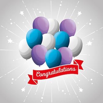 Impreza congratulation z balonami i dekoracją wstążki