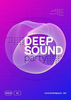 Impreza dj-a. dynamiczny kształt i linia gradientu. fajny szablon transparent dyskoteka. neonowa ulotka na imprezę dj. muzyka taneczna elektro. techno trans. elektroniczne wydarzenie dźwiękowe. plakat festynu klubowego.