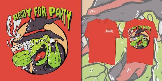 Impreza halloween'owa. czarownica ilustracja na t-shirt