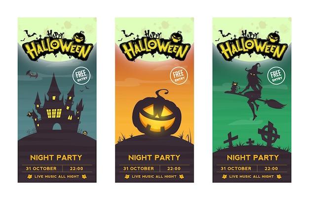 Impreza halloween'owa. retro banery, plakaty