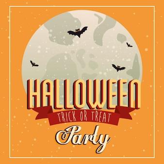 Impreza halloween z latającymi nietoperzami