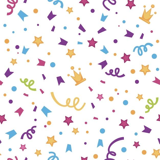 Impreza i celebracja specjalnego wydarzenia. konfetti i serpentyny z wstążkami, gwiazdami i koronami. brokat i połysk. wzór, tło lub nadruk, ozdobne opakowanie, wektor w stylu płaski