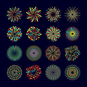 Impreza i święto fajerwerków ikona płaski zestaw ilustracji wektorowych na białym tle
