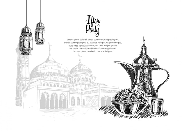 Impreza iftar z jedzeniem, latarnią i meczetem