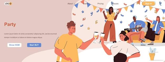Impreza internetowa koncepcja przyjaciele bawią się na imprezie pijąc szampana słuchając muzyki