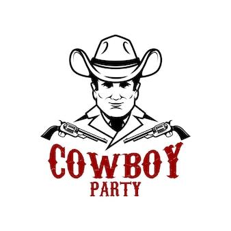 Impreza kowbojska. kowboj z ilustracji rewolwery