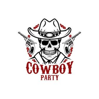 Impreza kowbojska. kowbojska czaszka z rewolwerami. element logo, etykiety, znaku. wizerunek
