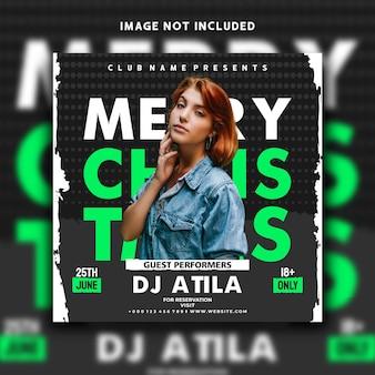 Impreza muzyczna dj wesołych świąt w mediach społecznościowych post projekt szablonu banera na instagramie