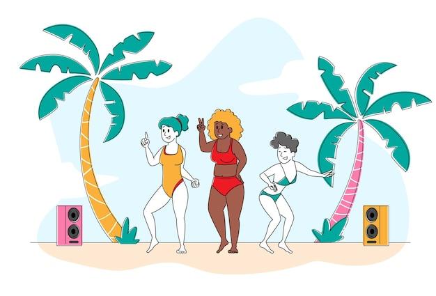 Impreza na plaży, pozytywna koncepcja ciała