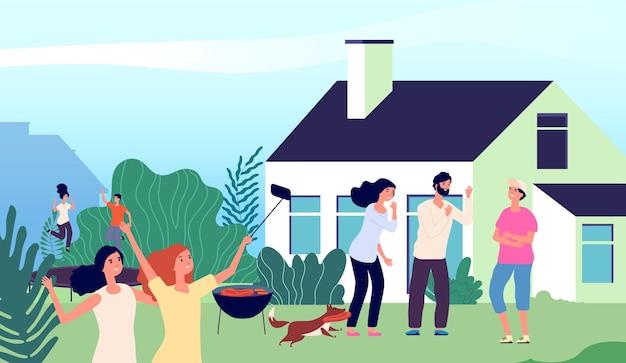 Impreza na podwórku. młodzi ludzie śmieją się, skaczą na trampolinie i robią zdjęcia. letni grill z rodziną i psem. mężczyzna kobieta wakacje, ilustracja wektorowa czas weekendu. grillowanie razem z kreskówkową imprezą