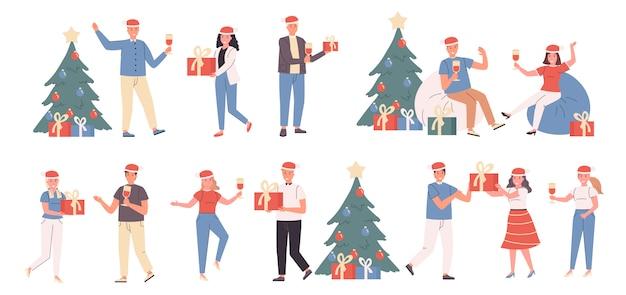 Impreza noworoczna, święta bożego narodzenia, płaski zestaw zimowych wakacji