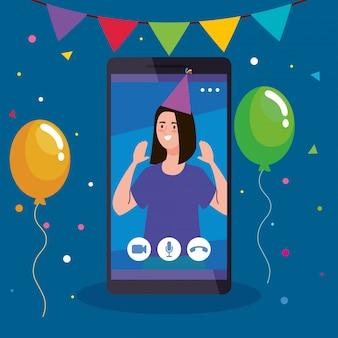 Impreza online, kobieta ma imprezę online w kwarantannie, wideokonferencję, imprezową kamerę internetową online w smartfonie