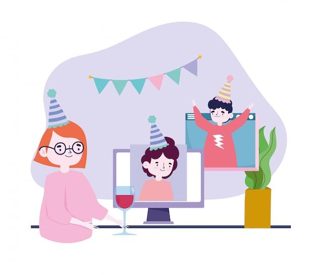 Impreza online, spotkania z przyjaciółmi, ludzie obchodzący urodziny podczas rozmowy wideo, zachowaj dystans