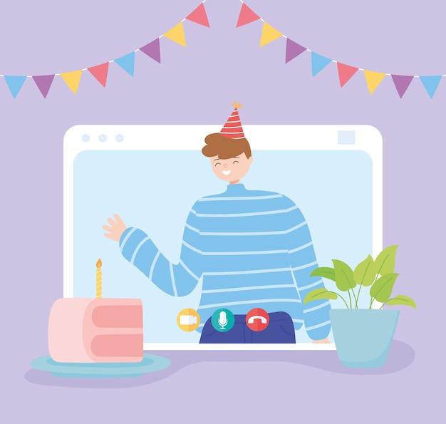 Impreza online, szczęśliwy mężczyzna w rozmowie wideo świętuje urodziny z ciastem