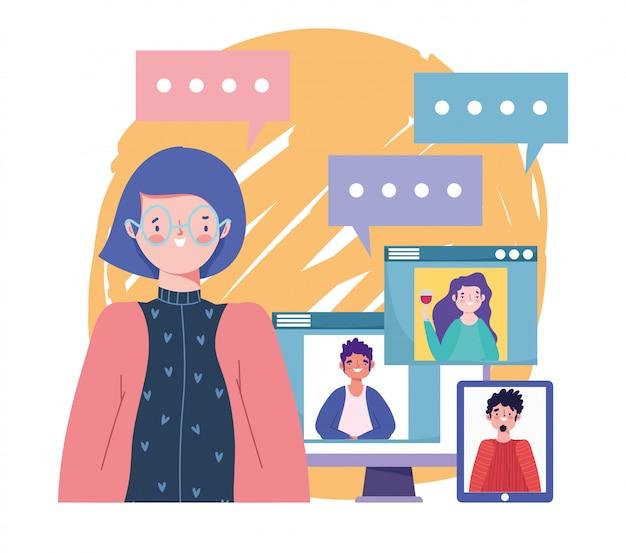 Impreza online, urodziny lub spotkanie z przyjaciółmi, kobieta rozmawia grupy ludzi przez komputerowe strony internetowe ilustracji