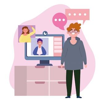 Impreza online, urodziny lub spotkanie z przyjaciółmi, mężczyźni rozmawiają przez ilustrację kamery komputerowej