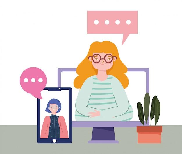 Impreza online, urodziny lub spotkanie ze znajomymi, kobiety na ekranie komputera i smartfona dystansująca ilustracja społeczna