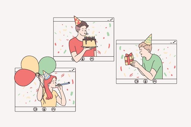 Impreza online, urodziny, wirtualne spotkanie z koncepcją przyjaciół.