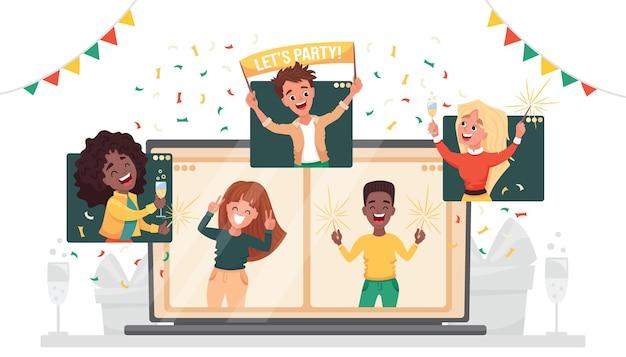 Impreza online wirtualna impreza noworoczna. różnorodni ludzie tańczą i rozmawiają, świętując święta za pośrednictwem połączenia wideo