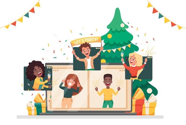 Impreza online wirtualni ludzie z nowego roku świętują przez rozmowę wideo ze znajomymi, spotykają się online. płaskie ilustracja kreskówka.