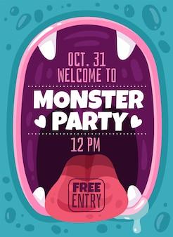 Impreza potwora. kolorowa ulotka zaproszenie dla dzieci na wieczór halloween, przerażające szczęki dziwaczne stworzenia usta z zębami i napisem tekstowym, straszny mutant lub obcy szablon kreskówka wektor plakat