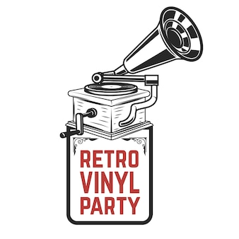 Impreza retro z winylu. gramofon w stylu vintage. element na logo, etykietę, godło, znak, odznakę. ilustracja