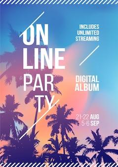 Impreza strumieniowa online. palmy na tle tropikalnych zachodu słońca. szablon a4. kreatywny plakat party tło palmy. wydarzenia takie jak muzyka na żywo