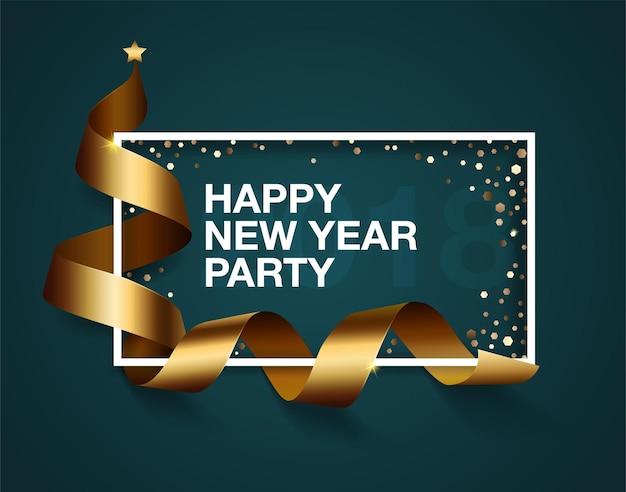 Impreza szczęśliwego nowego roku, realistyczna złota wstążka, miejsce na tekst w ramce, konfetti.