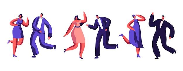 Impreza taneczna celebracja przebrani dorośli ludzie tańczą razem wesołą muzykę. radosna atmosfera związku radosny tancerz odpoczynek klub nocny. dobry nastrój zachowanie ilustracja kreskówka płaski wektor