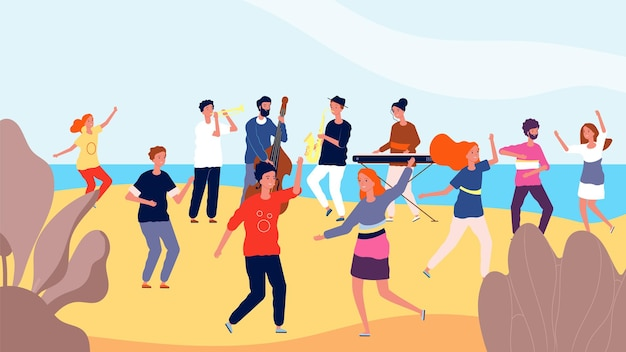 Impreza taneczna na plaży. szczęśliwy tłum ludzi tańczących w pobliżu oceanu.