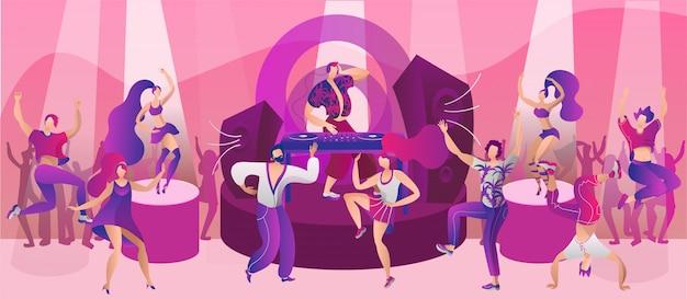 Impreza taneczna w klubie nocnym, ilustracja. muzyka dyskotekowa dla postaci człowieka kobieta mężczyzna w koncepcji klubu nocnego. szczęśliwy tło wydarzenie nocne, młody chłopak dziewczyna zabawy.