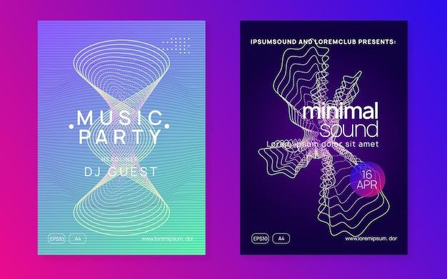 Impreza z dj-em. dynamiczny płynny kształt i linia. zestaw nowoczesnych broszur koncertowych. neonowa ulotka z imprezą dj.