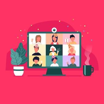 Impreza z domu. osoby spotykające się podczas wideokonferencji online na komputerze w święta bożego narodzenia.