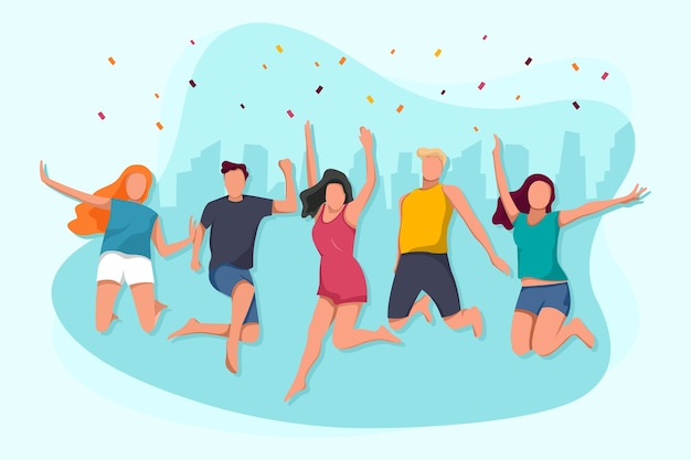 Impreza z okazji dnia młodzieży ze skaczącymi ludźmi