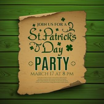Impreza z okazji dnia świętego patryka. szablon plakatu zaproszenia, ulotki lub broszury.