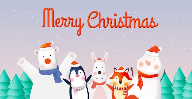 Impreza ze zwierzętami z bardzo uroczym projektem postaci w pastelowej schenme do świętowania i wesołych świąt