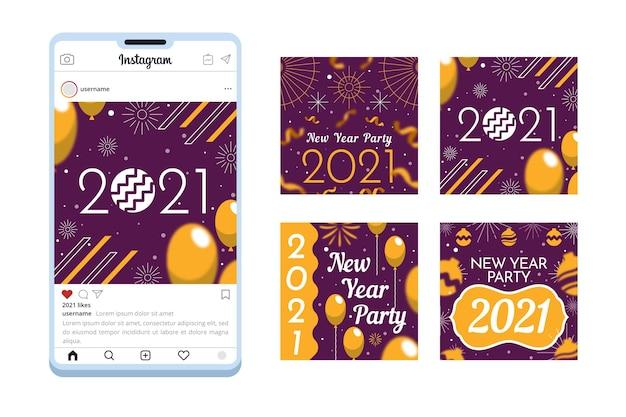 Imprezowa kolekcja postów na instagramie nowy rok 2021